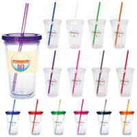 Picture of Clear Tumbler with Colored Lid - 18 oz.