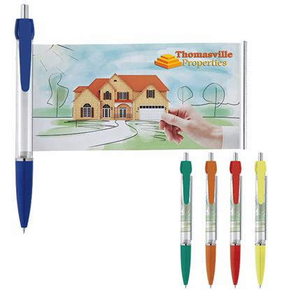Picture of Translucent Color Banner Pen with Silver Ring