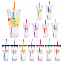 Picture of Clear Tumbler with Colored Lid - 24 oz.