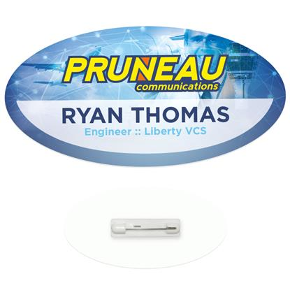 "Picture of 3"" x 1-1/2"" Oval Economy Name Tag"