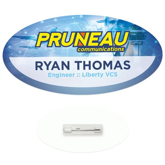"""Picture of 3"""" x 1-1/2"""" Oval Economy Name Tag"""