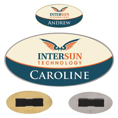 "Picture of 3"" x 1-1/2"" Oval Metal Name Tag"
