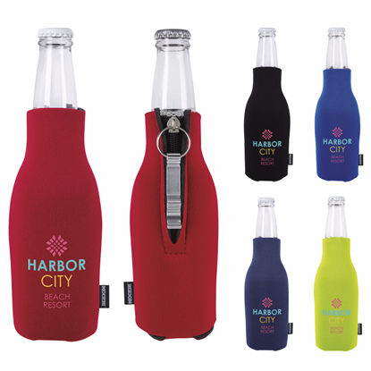 Picture of Koozie® Zip-Up Bottle Kooler with Opener