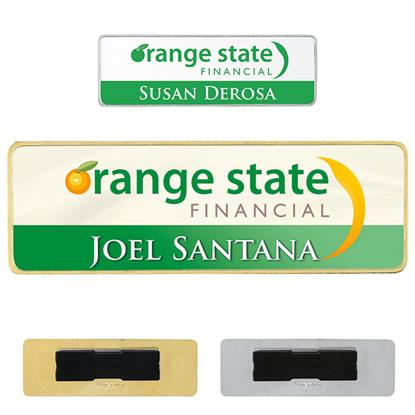 "Picture of 3"" x 1"" Metal Name Tag"