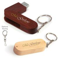 Picture of 256 MB Bamboo Bullet Keyring USB 2.0 Flash Drive