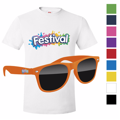Picture of Men's Hanes®  White T-shirt & Retro Sunglass with Full Color