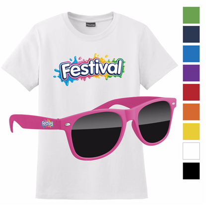 Picture of Women's Hanes®  White T-shirt & Retro Sunglass with Full Color