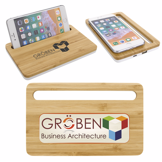 Picture of Bamboo Wireless Charging Pad with Phone Stand
